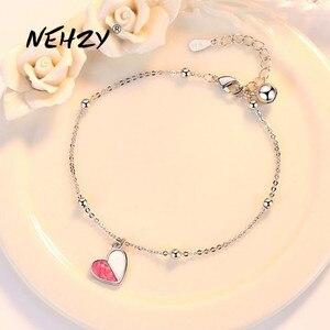 NEHZY 925 серебро браслет ювелирные изделия высокого качества Модные женские ретро розовый в форме сердца с кристаллами, браслет с кристаллами ...