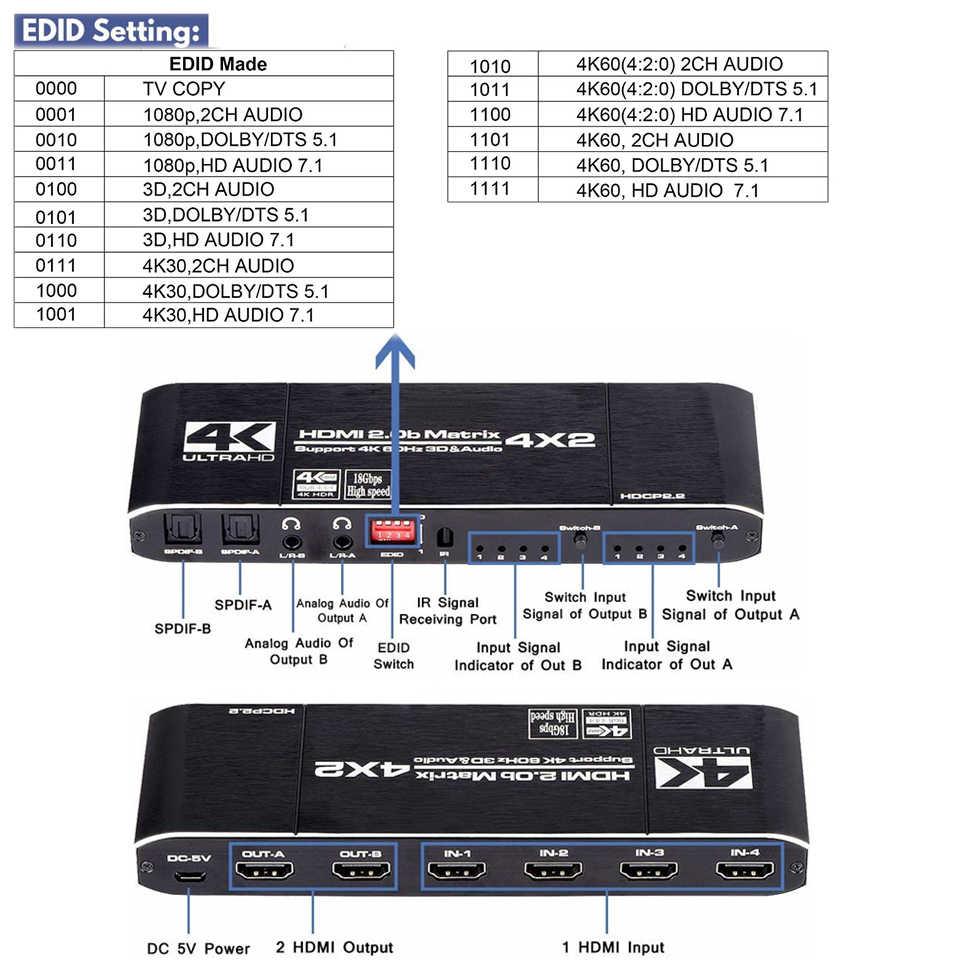 2020 4k @ 60hz hdmi matrix 4x2, interruptor divisor, suporte hdcp 2.2 ir controle remoto hdmi interruptor 4x2 spdif 4k hdmi, 4x2, interruptor matriz