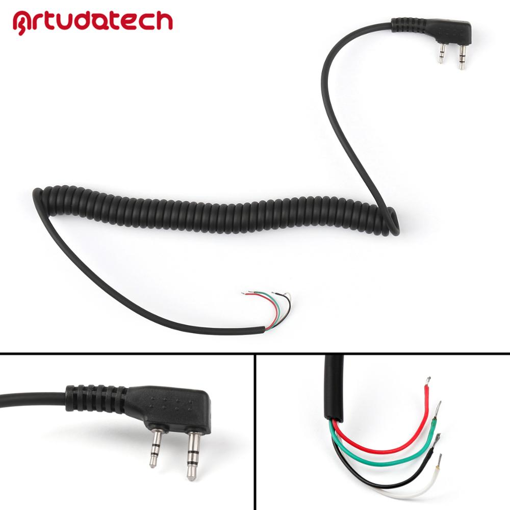 Artudatech 2 pin 4 Wire Speaker Mic Cable Line for Baofeng UV-5R UV5R for Kenwood <font><b>TK</b></font> <font><b>3107</b></font> TK370 <font><b>TK</b></font>-<font><b>3107</b></font> for Motorola image