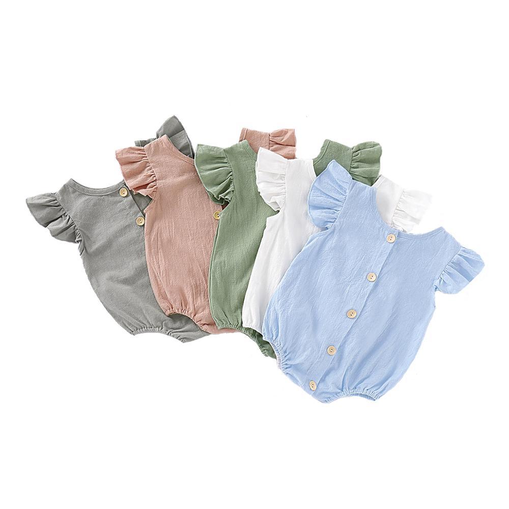 Summer Newborn Infant Baby Girls Cotton Linen Romper Jumpsuit Playsuits Ruffles Sleeveless Onepiece Newborn Clothes
