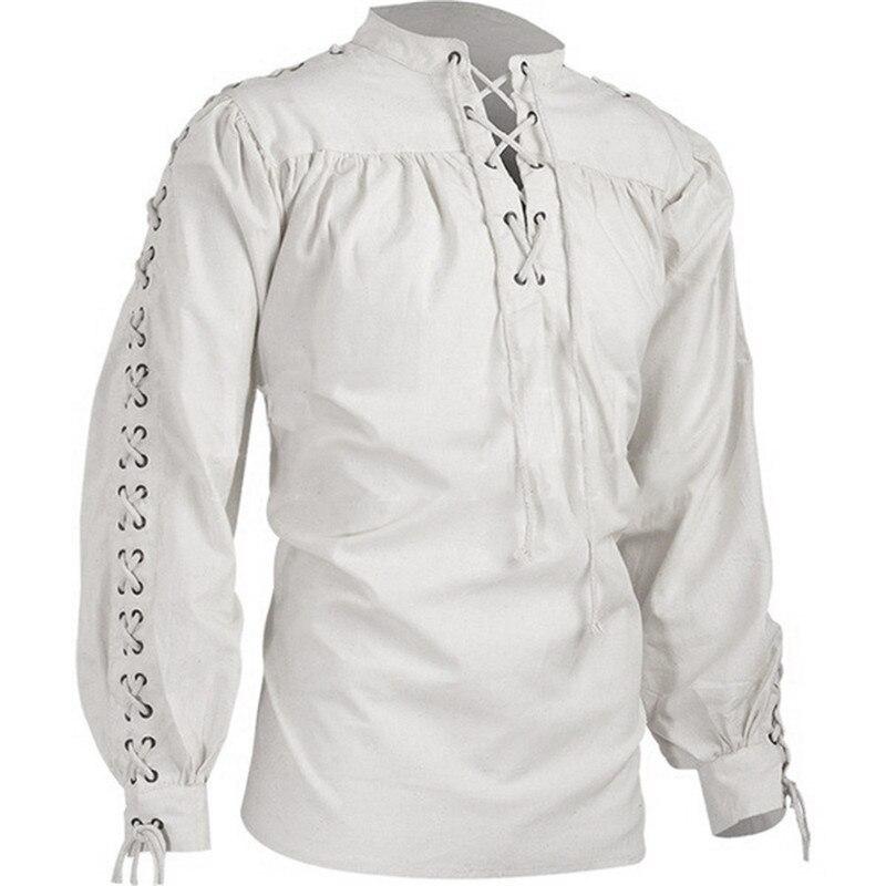 Helisopus New Long Sleeve Men Shirt Fashion Gothic Casual Vintage Bandage Black White Plus Size