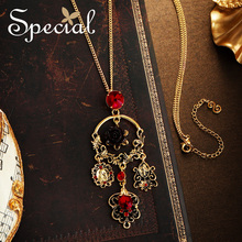The Special New Fashion vintage Baroque Chic flower long necklace sweater chain pendant for women ,S1992N vintage cross anchor sweater chain for women