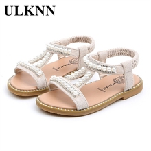 ULKNN new girl Beading sandals baby  open-toed princess shoes children's non-slip Kids Silver wholesale  2021 summer size 21-30