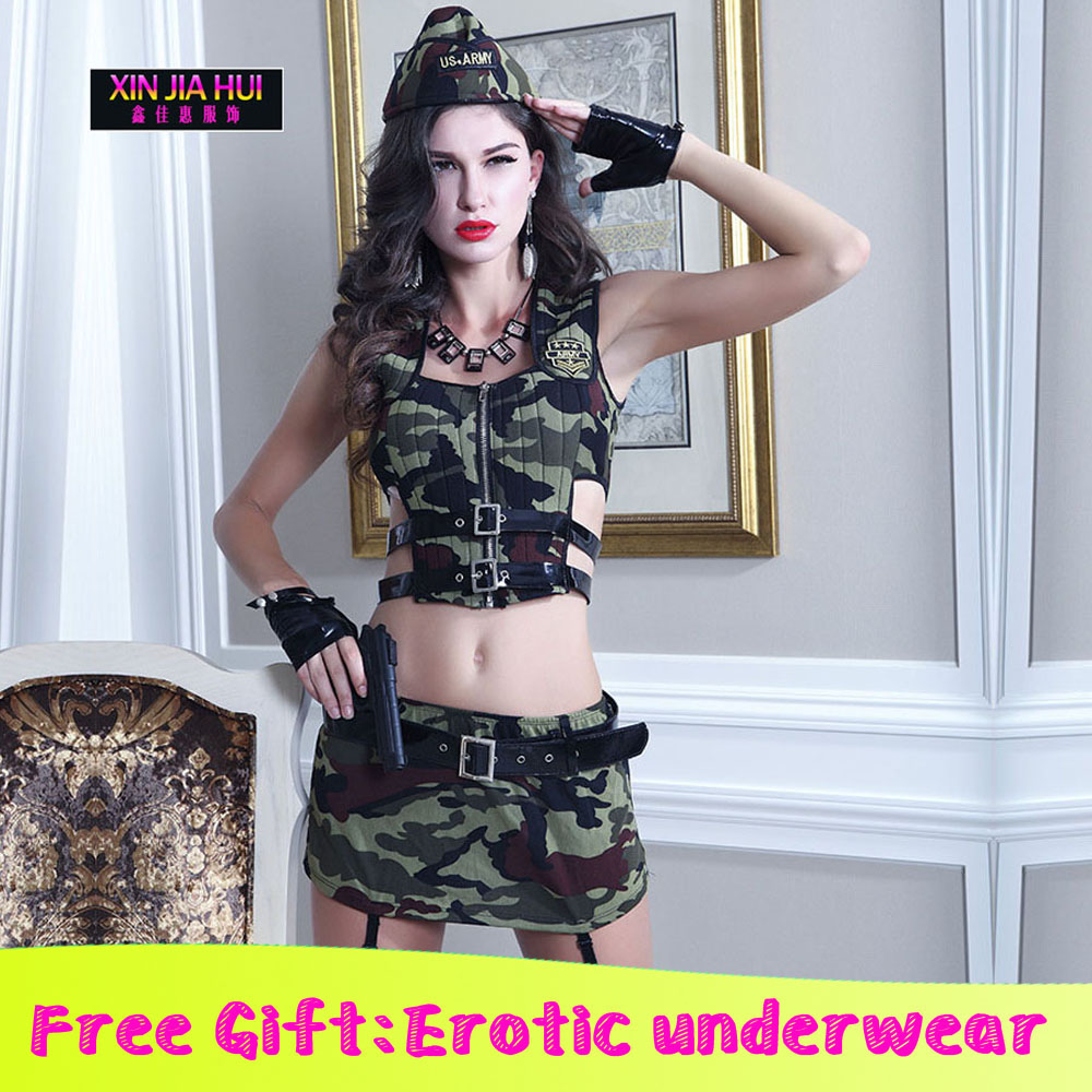 Cosplay costume Sexy play Ladies Lingerie Army Camouflage Uniforms Erotic RolePlaying Underwear Female Sex Party Stage Costumes