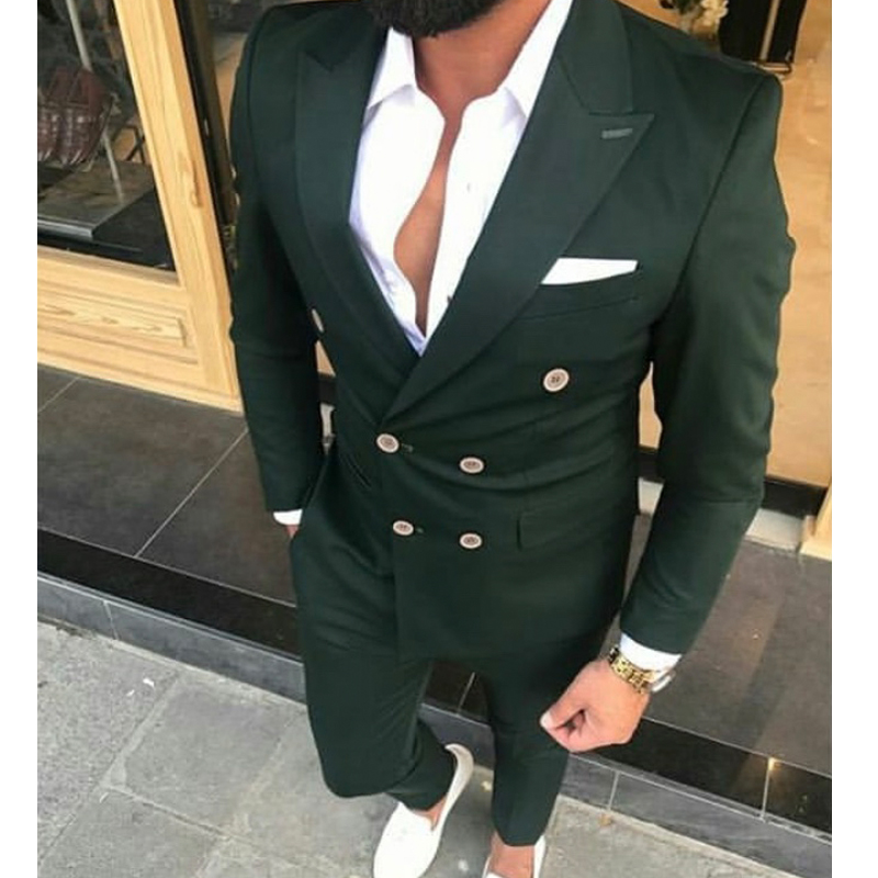 Slim Fit Double Breasted Men Suits for Wedding Prom 2 Piece Custom Groom Tuxedos Male Fashion Costumes Set Jacket with Pants