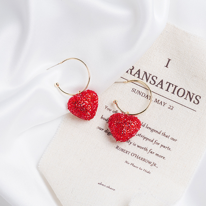 925 Silver needle web celebrity  red heart earrings candy color lovely personality heart shaped pendant earrings