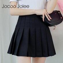 Falda plisada de cintura alta para mujer, Jocoo Jolee informal Kawaii de corte en A, minifaldas de uniforme de Escuela Japonesa, primavera y otoño, 2019