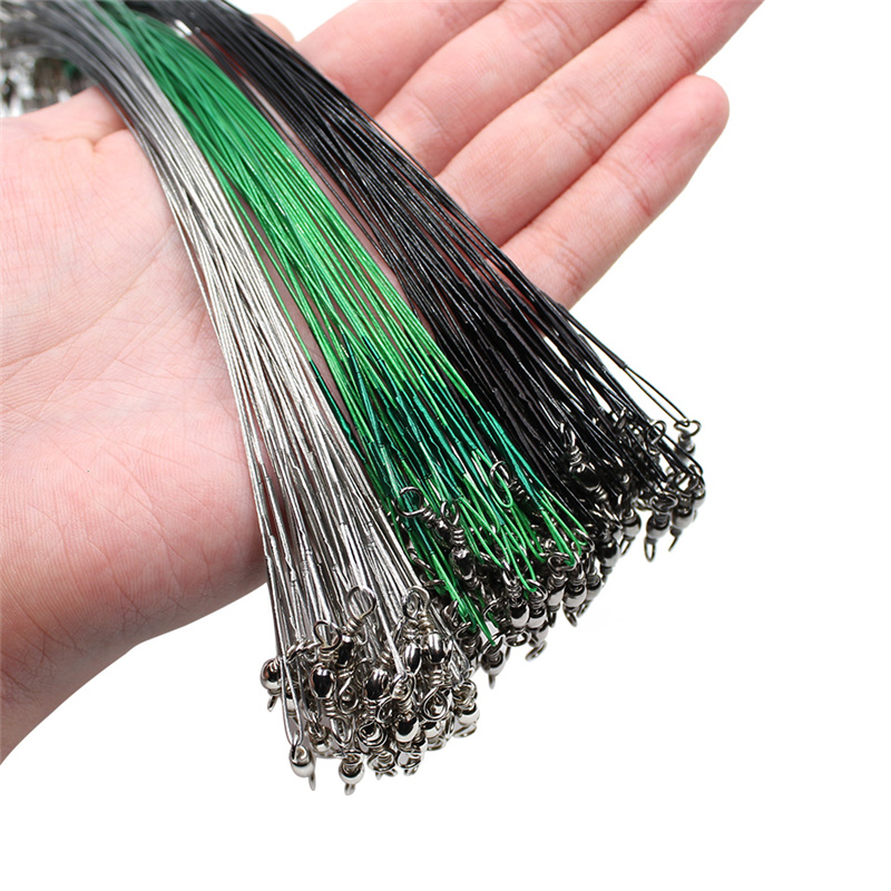 20PCS Anti Bite Steel Fishing Line Steel Wire Leader With Swivel Fishing Accessory Lead Core Leash Fishing Wire 15CM-50CM