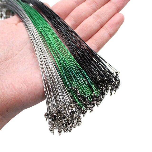 20PCS אנטי פלדת ביס דיג קו חוט מנהיג עם מסתובב דיג אבזר ליבת עופרת רצועה דיג חוט 15CM 50CM