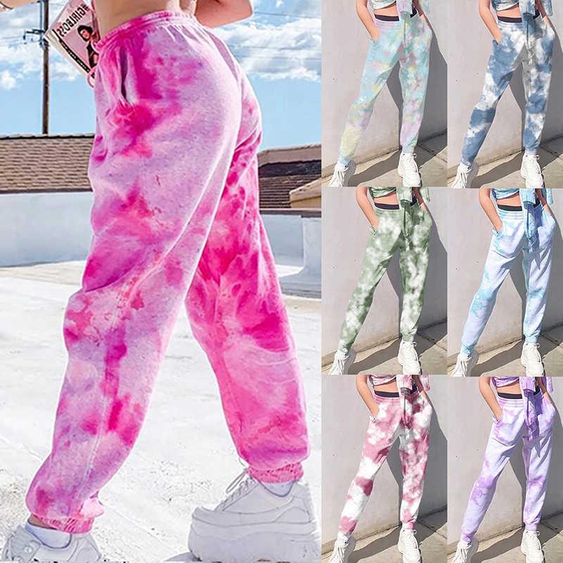2020 시즌 넥타이 염색 스웨트 여성 탄성 높은 허리 바지 팬츠 힙합 캐주얼 루즈 팬츠 레이디 패션 핑크 바지