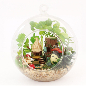 Image 3 - DIY Glass Ball Doll House Cute Totoro Dollhouse Model Kits Handmade Wooden Miniature Assembling dollhouse Toy Kids Birthday Gift