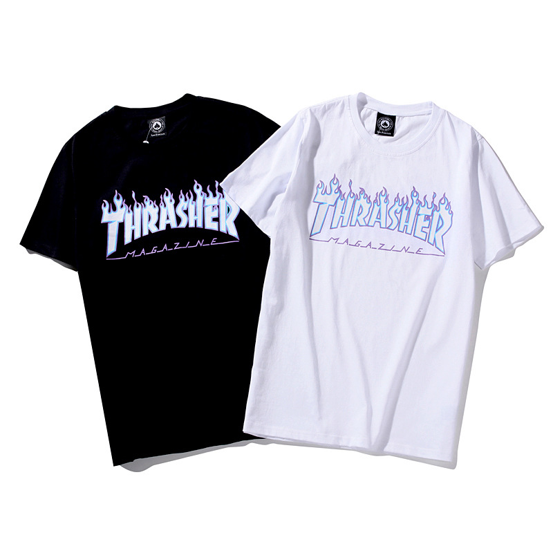 19ss Ghost Flame Logo Lettered Short Sleeve T-shirt Loose-Fit Couples INS Fashion Blue Flame English Fashion Sleeves