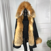 Women Winter Outwear 2019 new Real Fur Parkas For with red fox fur collar hood liner large red fox fur coat jacket thick warm fo