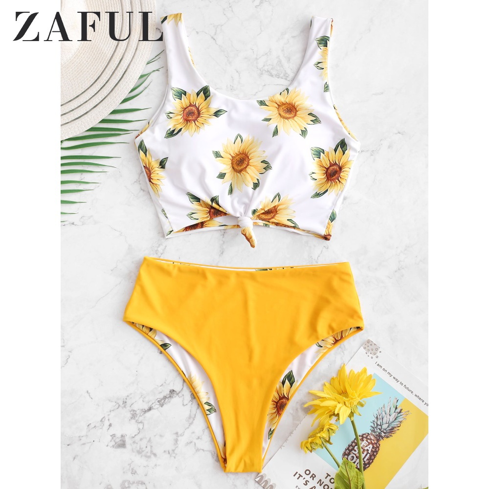 ZAFUL Sunflower Knot Reversible High Waisted Tankini Swimsuit Women Scoop Neck Crop Top Swimwear Summer Fashion Bathing Suits