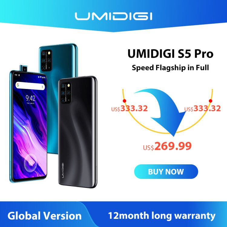 UMIDIGI S5 Pro Smartphone Helio G90T Gaming Processor 6GB 256GB FHD+ AMOLED In-screen Fingerprint Pop-up Selfie Camera 5G Wifi(China)