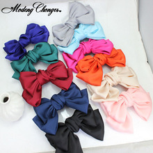 3 Levels Hairpin New Quality Solid Color Big Large Silk Bow Barrettes Girls Hair Clips Chiffon Satin Hairgrips Accessories