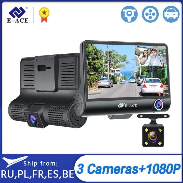 E-ACE B28 wideorejestrator samochodowy 4 Cal 3 obiektyw aparatu Dashcam FHD 1080P kamerka samochodowa kamera na deskę rozdzielczą rejestrator z kamerą tylną