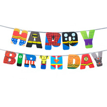 Banderín de cumpleaños de dibujos animados, héroe de dibujos animados, Bandera de papel, banderín increíble para suministros para fiesta de cumpleaños, 13 unids/lote