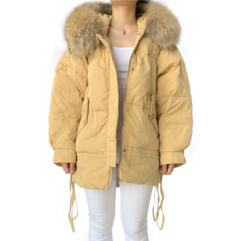 Duck Down Jacket Women Winter 2019 Real Big Raccoon Fur Collar Down Feather Coat Female Long Casual Light Warm Down Jacket Parka