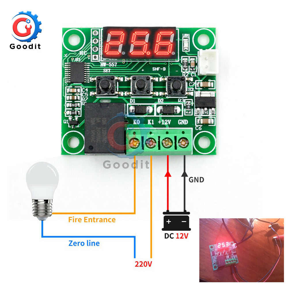 Digital Thermostat Temperature Controller W1209 DC 12V Regulator Thermoregulator Incubator NTC SENSOR Meter กรณีอุณหภูมิความร้อน