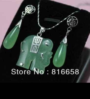 משלוח חינם >>@> משלוח חינם @ @ ירוק אבן פיל תכשיטי שרשרת/תליון עגיל סט טבעי תכשיטים