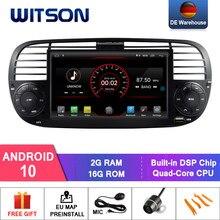 Автомагнитола WITSON на Android 10 для FIAT 500, черный цвет, 2 Гб ОЗУ, 16 Гб флэш-памяти, GPS-навигация, DAB, OBD, TPMS, DVR, Wi-Fi