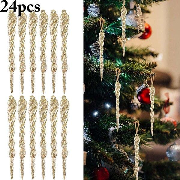 Hot 24Pcs Christmas Icicle Ornament DIY Party Hanging Xmas Tree Decor Supplies D6 14