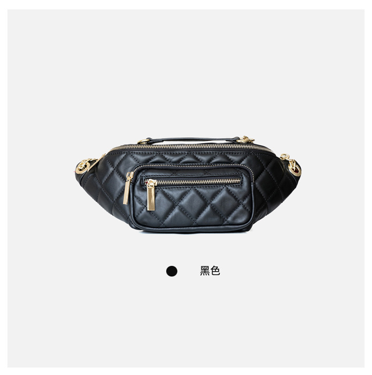 2020 New Design Split Leather Women Plaid Belt Bag Casual Waist Packs