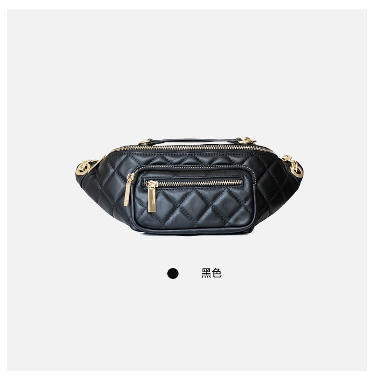 2020 New Design Split Leather Women Plaid Belt Bag Casual Waist Packs