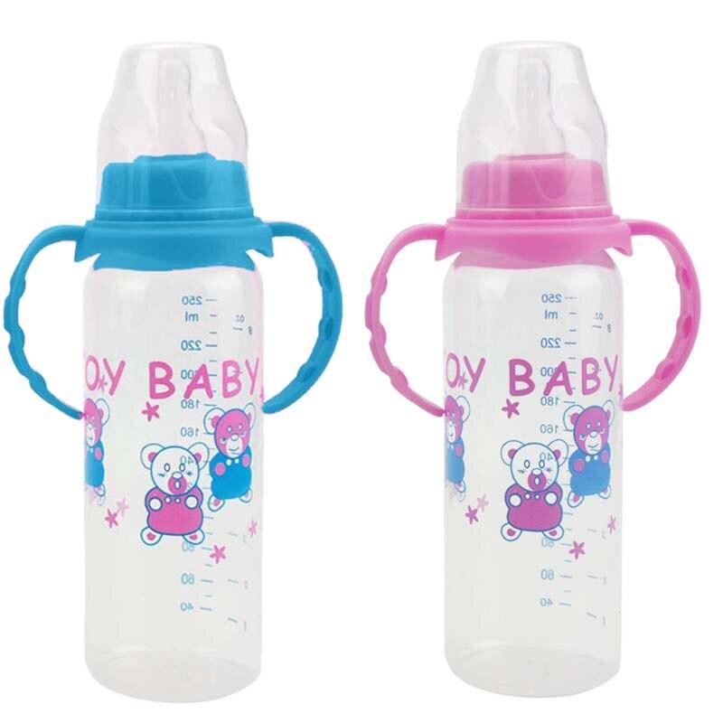 Newborn Baby Feeding Bottle Pink Blue Baby Feeding Water Standard Caliber PP Bottle