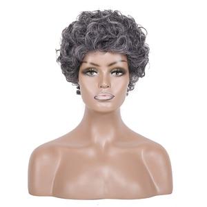Image 3 - 白髪かつらブラック女性ショートカーリーかつら高齢者のための女性の高温ファイバー人工毛 6 インチ