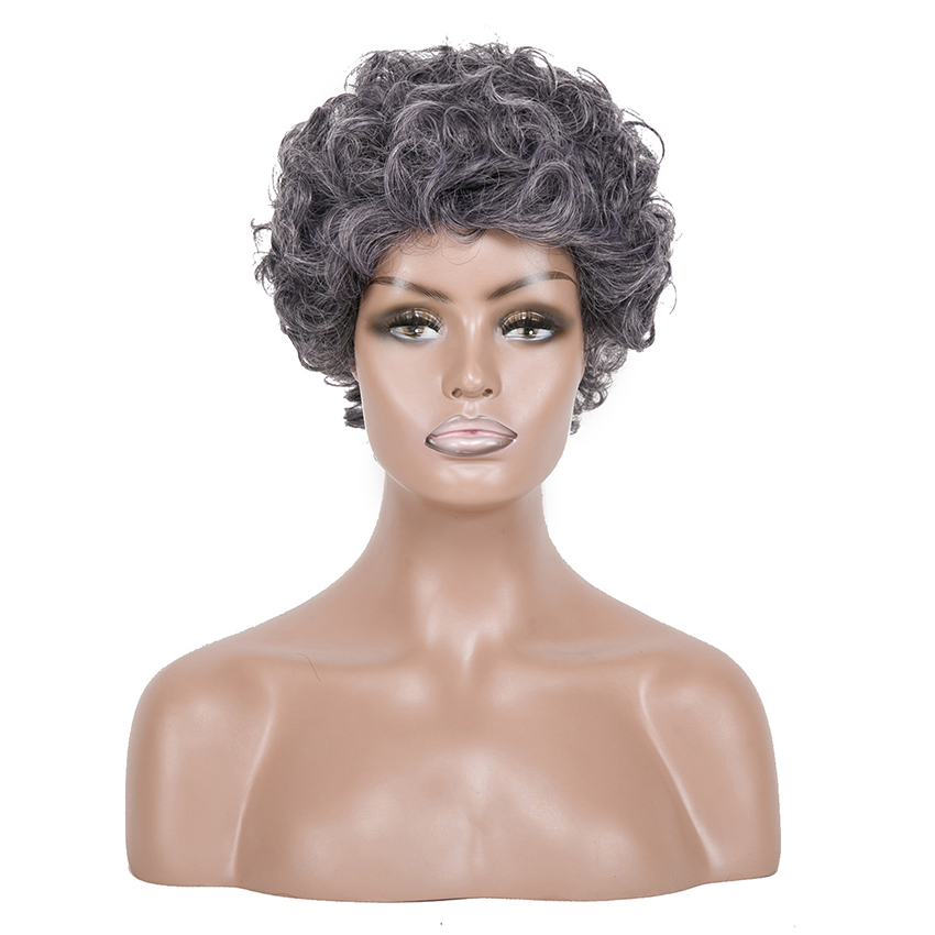Image 3 - Gray Hair Wig for the Black Women Short Curly Wig for the Aged Female High Temperature Fiber Synthetic Hair 6inchSynthetic None-Lace  Wigs   -