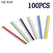 100pcs 2.54MM 1X40P Kit connettore intestazione Pin maschio fila singola PCB Board connettore Pin Header bianco/verde/giallo/rosso/blu/nero