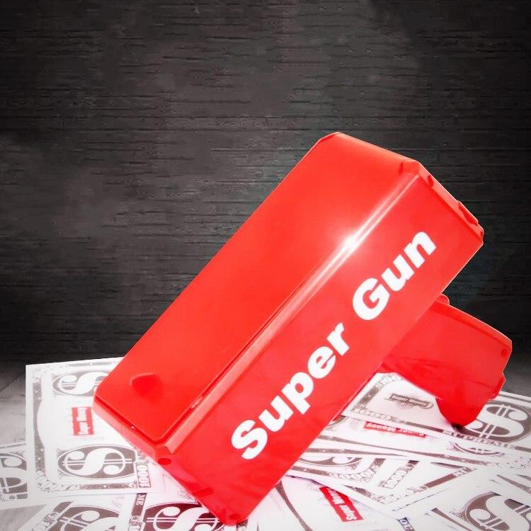 Pistola de dinero de lluvia, juguete de moda de color rojo, regalo de Navidad, juego de fiesta, saliva, billetes de banco, cañón, pistola de juguete