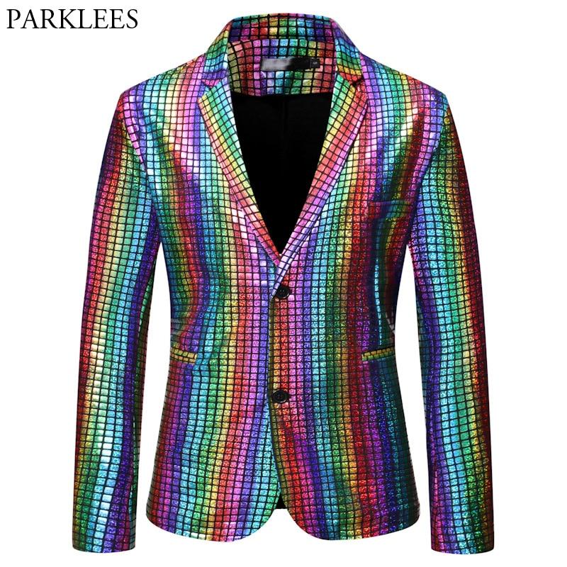 Mens Stylish Dancer Stage Blazer Jacket Gold Silver Rainbow Plaid Sequin Blazer Male Disco Festival Carnaval Party Prom Costumes