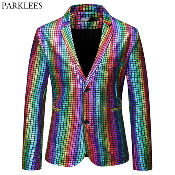 Mens Stylish Dancer Stage Blazer Jacket Gold Silver Rainbow Plaid Sequin Male Disco Festival Carnaval Party Prom Costumes - discount item  50% OFF Suits & Blazer