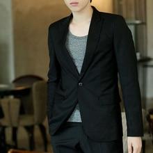 Men Blazer Coat Slim Suit Korean Style Solid Color Black 2019 Autumn Casual Business Daily Jackets A66