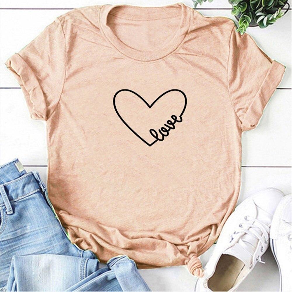 Парная футболка, женские футболки с принтом «любовь», модная футболка с круглым вырезом и сердечком, Повседневная Эстетическая футболка, то...