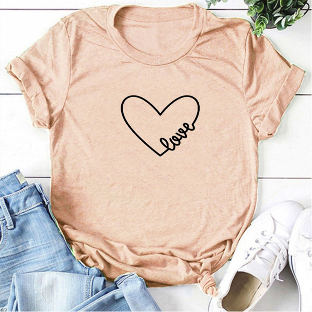 Couple T Shirt Love Print Women T Shirts Fashion O Neck Heart Love T-shirt Casual Aesthetic Tee Valentine's Day Tops Ladies Gift