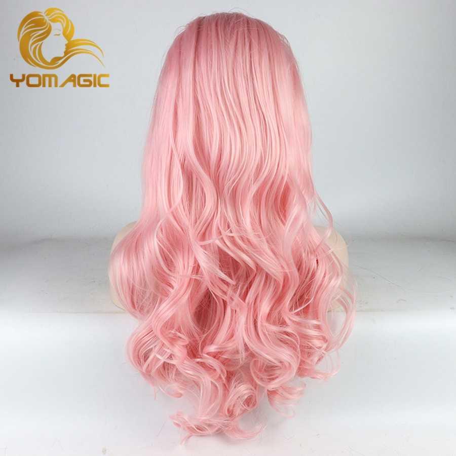Peruca sem cola do laço da fibra resistente ao calor da onda do corpo com cabelo do bebê perucas sintéticas cor-de-rosa do laço de yomagic pastel para as mulheres