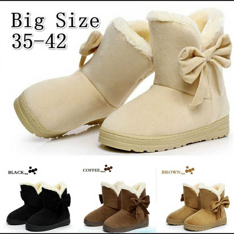 2019 Women Snow Boots Winter Fur Ankle Boots Female Bowtie Warmer Plush Suede Rubber Flat Slip On Fashion Platform Ladies Shoes