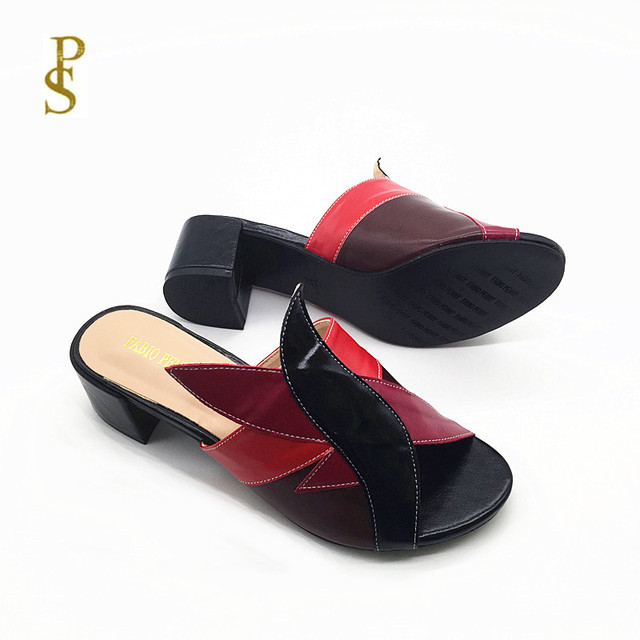 Mixed color PU shoes for women Fashionable and colorful female slippers for ladies