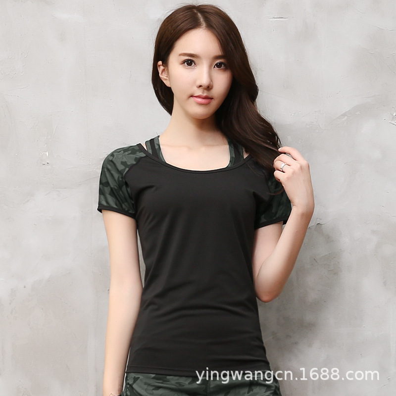 Spring And Autumn Camouflage Fitness Suit Sports Set Women's Slimming Quick-Dry Short Sleeve Trousers Running Yoga Clothes