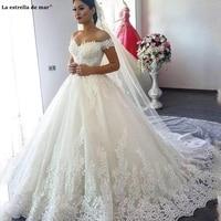 Vestido de noiva princesa new sexy V neck lace Off the Shoulder Backless A Line Ivory gothic wedding dress long pregnancy