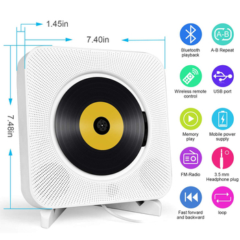 Portable CD Player with Bluetooth, Wall Mountable CD Music Player Home Audio Boombox with Remote Control FM Radio AUX Speakers