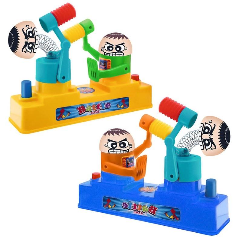 Novel Hand Press Double Hammer Beat Parent-child Toy Interactive Battle Villain Educational Toys For Children Gift Random Colors