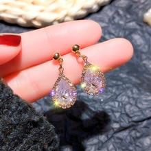 Korean temperament drop-shaped zircon super flash earrings simple women  indian  rhinestone earrings  jewelry