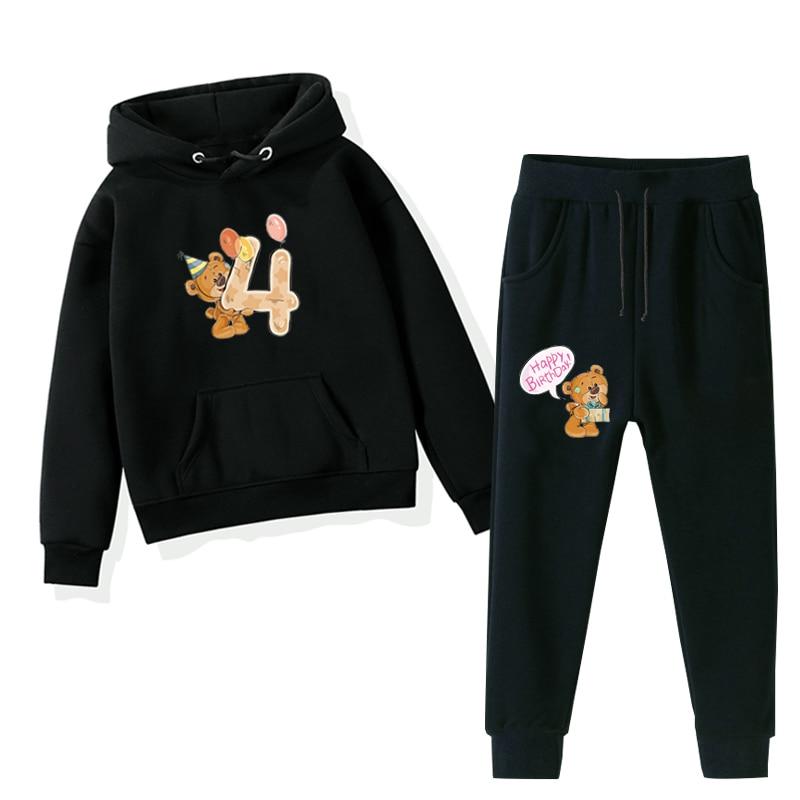 Girl Set Hoodies Bear Print Toddler Boys Clothing Sets Number Custom 0-9 Happy Birthday Baby Outfits Sweatshirts Leggings Pants