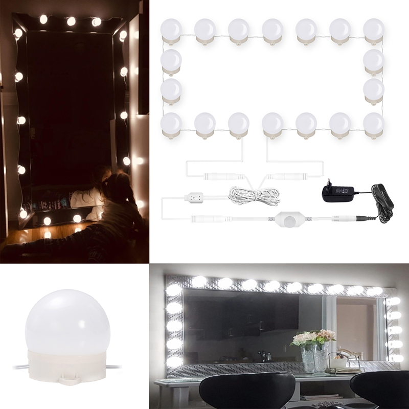LED Mirror lights Kit Hollywood Makeup Lights Vanity 10/18 Bulbs for bathroom,wall,dresser  dimmable with Plug in Linkable 6