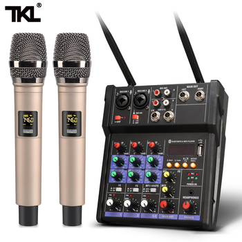TKL 4 channel audio mixer console with wireless microphone sound mixing with Bluetooth USB mini dj mixer tkl mini bluetooth audio mixer 4 channel dj mixer sound console mp3 usb jack 48v phantom power